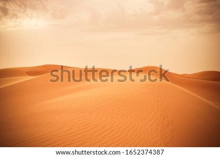 Sand dune in Saudi desert - Beautiful Arabian desert  Royalty-Free Stock Photo #1652374387