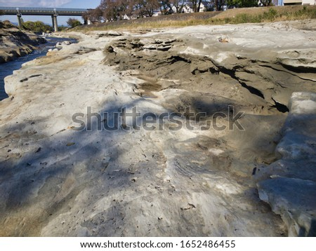 """Miraculous fossils left behind by an explosion of an estimated 1.8 million years ago. A river surrounded by fossils. The name of the miracle river is """"ASAKAWA"""". Valuable fossils are metasequoia trees. #1652486455"""