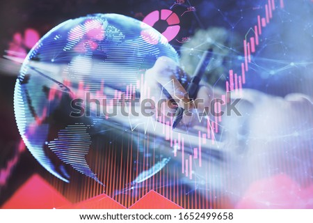International business hud over woman's hands writing background. Concept of hard work. Double exposure #1652499658