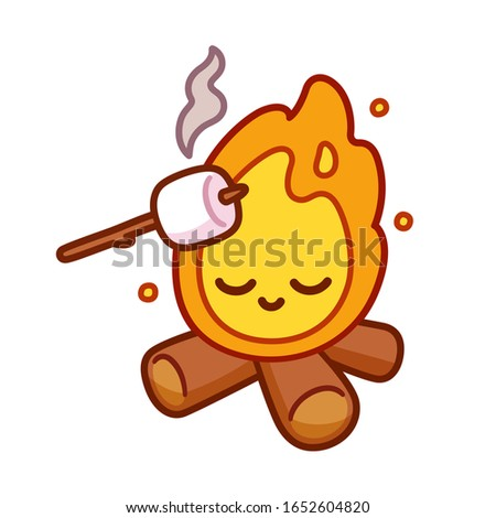 Cute cartoon drawing of bonfire with kawaii face and marshmallow toasting on stick. Simple camping fun illustration, isolated clip art.