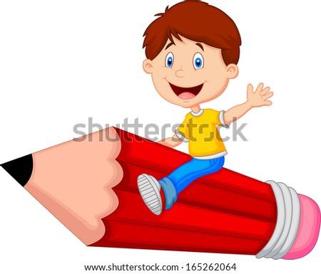 Cartoon boy riding flying pencil