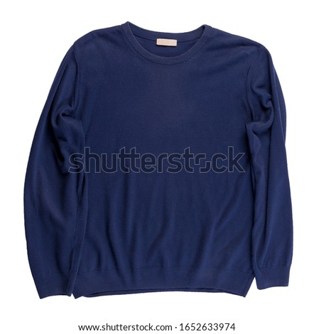 knitted blue sweater isolated on a white background. men's sweater under the neck top view . Casual style #1652633974