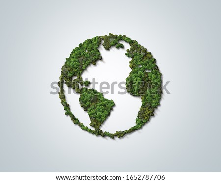 Green World Map- 3D tree or forest shape of world map isolated on white background. World Map Green Planet Earth Day or Environment day Concept. #1652787706