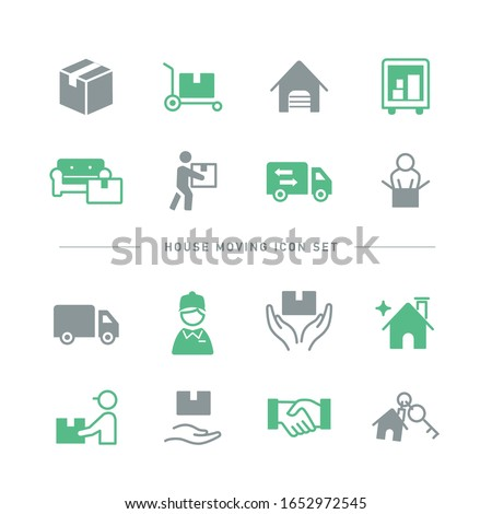 SIMPLE HOUSE MOVING ICON SET #1652972545