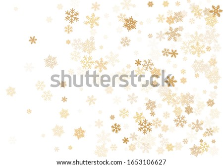 Snow flakes falling macro vector illustration, christmas snowflakes confetti falling scatter banner. Winter snow shapes decor. Windy flakes falling and flying winter cold weather vector. #1653106627
