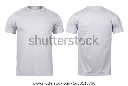 Grey t-shirt front and back view mock-up isolated on white background with clipping path. #1653115750
