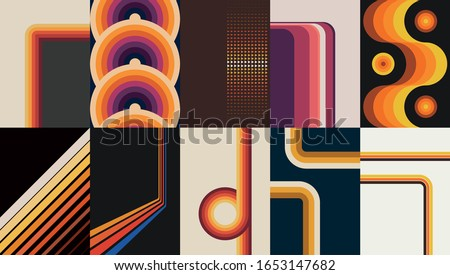 1970s Style Background Set, Vintage Colors and Shapes Royalty-Free Stock Photo #1653147682