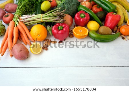 Fresh vegetables variety background with space for text #1653178804