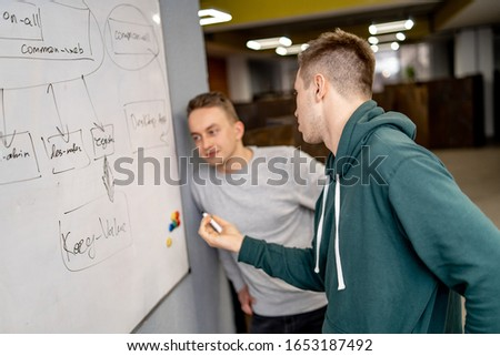 Creative people meeting at office and use post it notes to share idea. Teamwork process. Brainstorming concept #1653187492