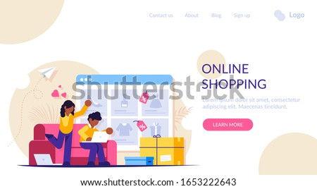 Online shopping. A man and a woman shop at an online store sitting on a couch. The product catalog on the web browser page. Shopping boxes. Landing web page template. #1653222643