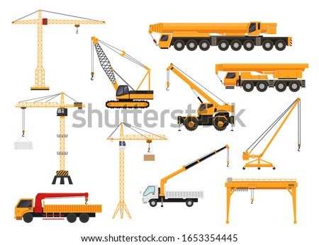 Set of construction cranes in flat style. Trucks with cranes, crawler tractors and cars with cranes vector illustration. Construction transport vehicles isolated on white background. Royalty-Free Stock Photo #1653354445