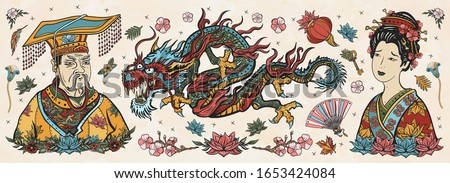Ancient China. Old school tattoo vector collection. Chinese dragon, emperor, queen in traditional costume, fan, red lantern, lotus flower. History and culture. Asian art. Traditional tattooing style #1653424084