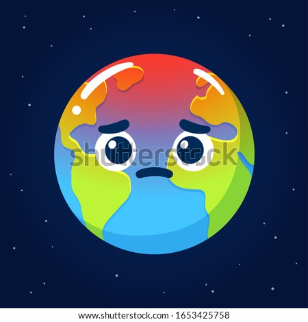 Global warming and climate crisis drawing. Cartoon Earth with worried face. Environment and ecology clip art illustration.