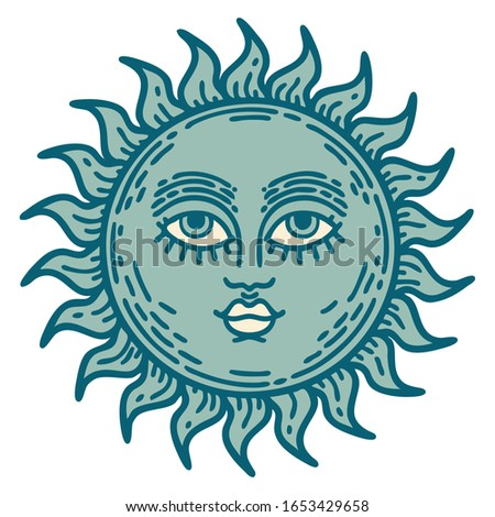 iconic tattoo style image of a sun with face