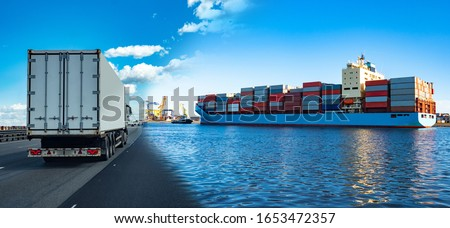 Delivery of seafood from a fishing boat to the store. Chilled seafood is delivered to the factory. The catch is immediately processed in food production. Food industry. #1653472357