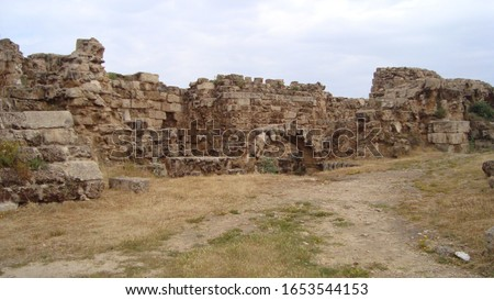 Destroyed walls, antique ruines from Northern Cyprus Royalty-Free Stock Photo #1653544153