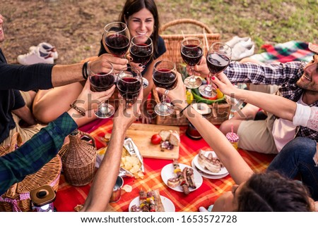 Group of young happy friends having pic-nic outdoors - People having fun and celebrating while grilling ata barbacue party in a countryside