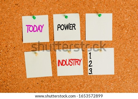 Writing note showing Power Industry. Business photo showcasing industries involved in the production and sale of energy Corkboard size paper thumbtack sheet billboard notice board. #1653572899