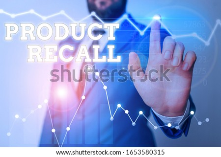 Writing note showing Product Recall. Business photo showcasing process of retrieving potentially unsafe goods from consumers. #1653580315