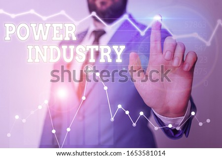 Writing note showing Power Industry. Business photo showcasing industries involved in the production and sale of energy. #1653581014