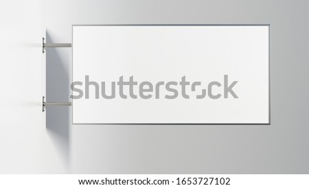 Horizontal signboard or signage isolated on the white wall with blank white sign mock up. Side view. 3d illustration