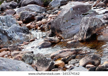 Bubbling Brook or Steam over stones and rocks in Scottish Highlands, near Gairloch, Western Highlands, Scotland #165374162