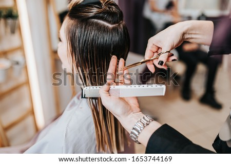 Beautiful young woman getting her haircut by a hairstylist at a beauty salon. Royalty-Free Stock Photo #1653744169