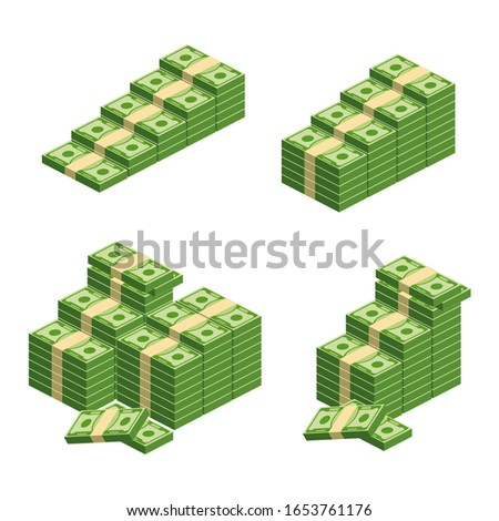Huge packs of paper money. Bundle with cash bills. Keeping money in bank. Deposit, wealth, accumulation and inheritance. Flat vector cartoon money illustration. Objects isolated on a white background. #1653761176