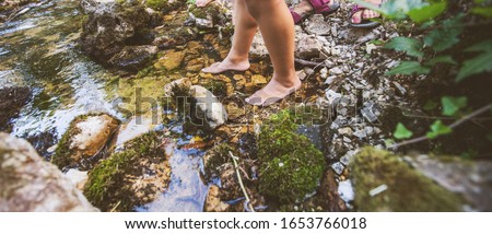Children barefoot feet walking through clear water in forest creek . Adventure on summer day in nature. Unrecognizable people . #1653766018