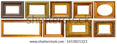 Set of frame frames picture gold silver tree.