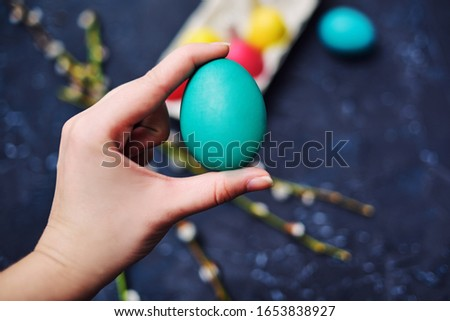 Happy Easter. Painted multi-colored. The girl holds an empty colored egg, a place for text, a picture. Girl shows a colored egg. Blossoms of pussy-willow seals, on an abstract background of dark color