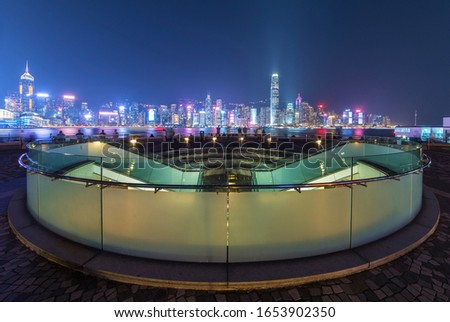 Night scene of Victoria harbor of Hong Kong city #1653902350