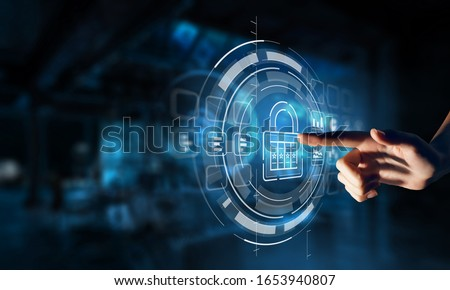Security solution concept . Mixed media Royalty-Free Stock Photo #1653940807