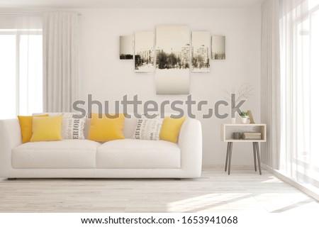 White living room with sofa. Scandinavian interior design. 3D illustration #1653941068