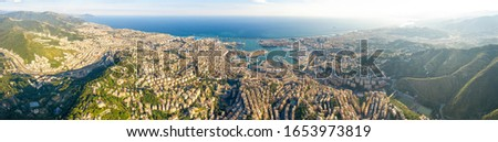 Genoa, Italy. Panorama of Genoa from the air. Port of Genoa. Aerial view Royalty-Free Stock Photo #1653973819