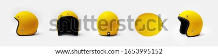 Yellow motorcycle helmet on a white background, front, back, side,top. Royalty-Free Stock Photo #1653995152
