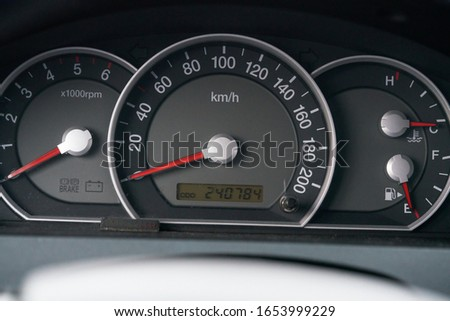 car interior dashboard details. Speedometr. Royalty-Free Stock Photo #1653999229