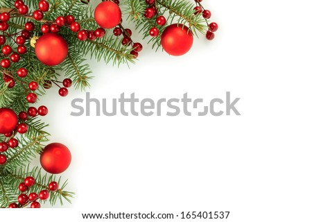 Christmas border isolated on white background