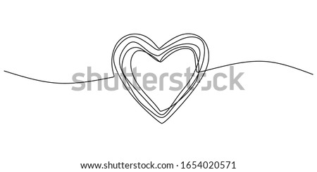 Heart scribble drawing. One line love sign minimalism, continuous single hand drawn vector illustration. Doodle abstract symbol simplicity design. #1654020571