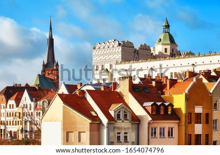 Szczecin cityscape including Ducal Castle bailey and cathedral tower on the left, Poland. Royalty-Free Stock Photo #1654074796