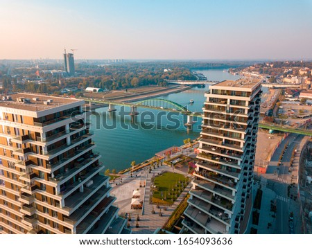 View from the top of Belgrade Waterfront towers Royalty-Free Stock Photo #1654093636