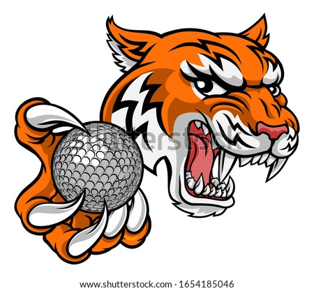 A tiger golf player cartoon animal sports mascot holding a ball in its claw