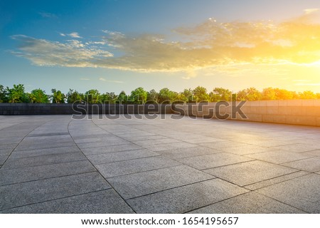 Empty square platform and woods background landscape
