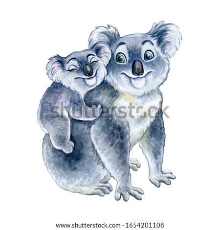 Koala mum and baby isolated on white background. Motherhood Watercolor. Template. Close-up. Clip art. Hand drawn. Template. Hand painted. Childish illustration.