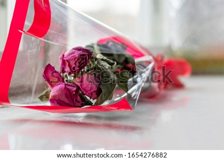 bouquet of dried scarlet roses in gift paper. They lie on the windowsill near the window. #1654276882