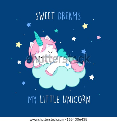Sweet dreams my little unicorn - Lovely little unicorn sleeping on the cloud - blue background - suitable for decorations, party invitations or greeting cards