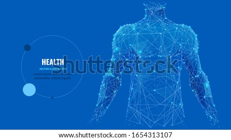 Abstract isolated human body on blue background. Polygonal top of body of adult man with polygons, particles, lines and connected dots. Medicine and healthy life digital concept. Low poly wireframe. Royalty-Free Stock Photo #1654313107