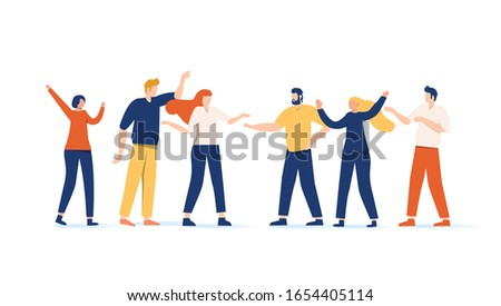 Vector illustration, flat style, businessmen discussing social networks, news, social networks, chat, dialogue. Cartoon hipster man and woman talking. Having conversation isolated on white background. #1654405114
