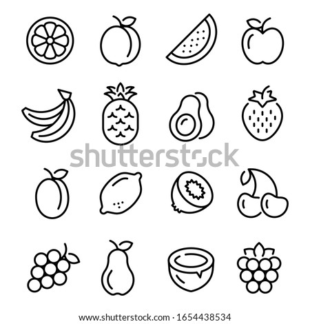 Fruits icons set. Collection of linear web icons, such as pineapple, banana, kiwi, orange, pear and others different fruits. Editable vector stroke. #1654438534