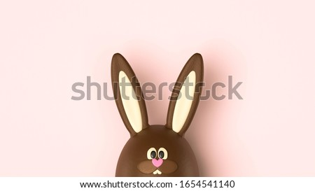 Cute Easter bunny, chocolate rabbit on pink background, holiday surprise gift, sweet Easter symbol. Funny bunny with pink heart nose, chocolate egg decoration, front view. Delicious greeting poster.